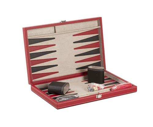 "15"" Black & Red Leatherette Backgammon"