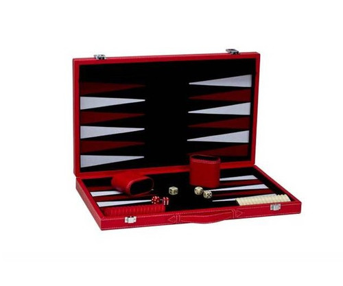"""18"""" Red Leatherette Backgammon"""
