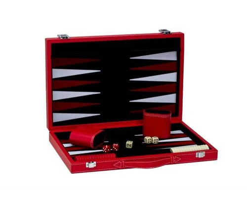 """15"""" Red Leatherette Backgammon"""