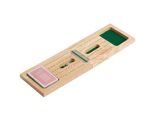"15""  Wooden Foldable Travel Cribbage & Card Set"