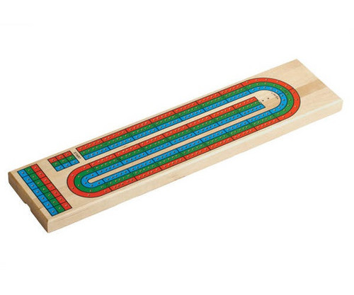 """14"""" 3 Track Color Cribbage with Extra Space for Custom Engraving"""
