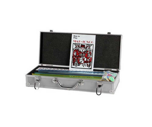 Ivory Color Mah Jong Tiles with Silver Aluminum Case