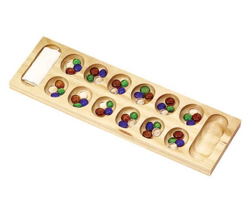 Wooden Mancala with Glass Beads