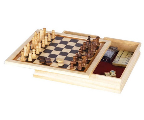 Wooden 6 in 1 Game Set