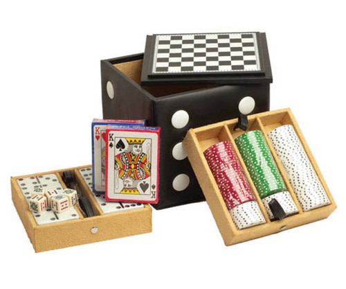 Large 5 in 1 Dice Cube Game Set Black