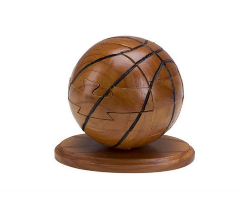 """4"""" Wooden Basketball Puzzle & Stand"""