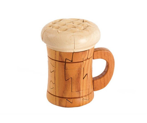 Wooden Beer Mug Puzzle with Foam