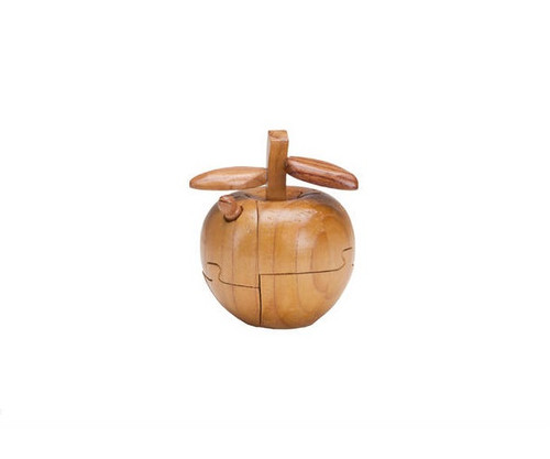 Wooden Apple with Worm Puzzle