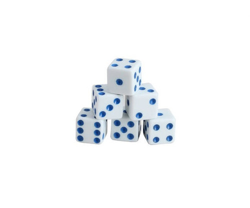 White Dice with Blue Pips 200 pcs