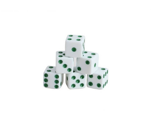 White Dice with Green Pips 200 pcs