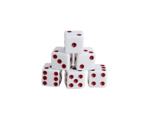 White Dice with Red Pips 200 pcs