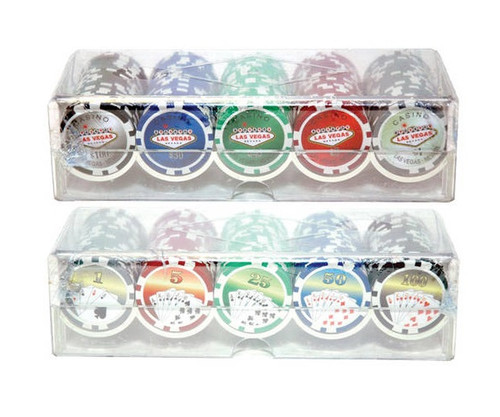 100 PC Assorted 11.5G Las Vegas Poker Chips with Case