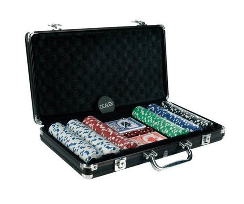 300 PC Poker Set with Dice & Cards Black Aluminum Case