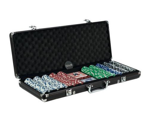 500 PC Poker Set with Dice & Cards Black Aluminum Case