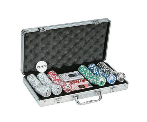 300 PC Big Number Poker Set with Dice & Cards Aluminum Case