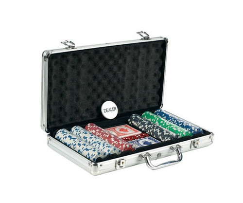 300 PC Dice Poker Set with Dice & Cards Aluminum Case