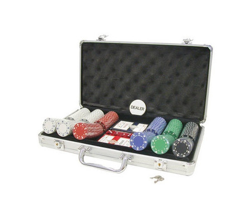 300 PC Suited Poker Set with Dice & Cards Aluminum Case