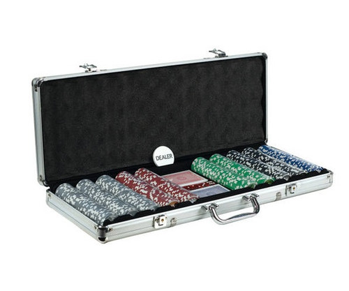 500 PC Big Number Poker Set with Dice & Cards Aluminum Case
