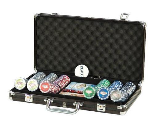 300 PC Las Vegas Poker Set with Dice & Cards Black Aluminum Case