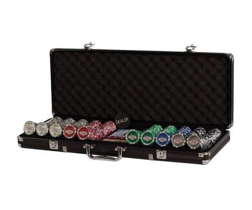 500 PC Las Vegas Poker Set with Dice & Cards Black Aluminum Case