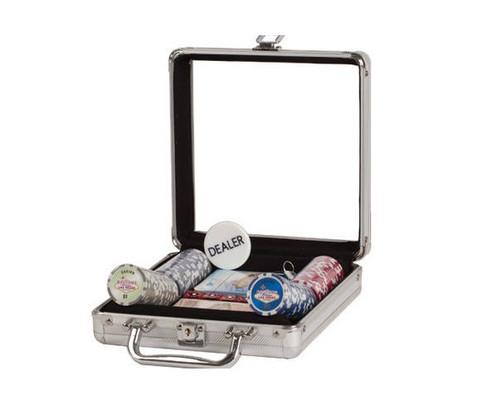 100 PC Las Vegas Poker Set with Dice & Cards Aluminum Case Window