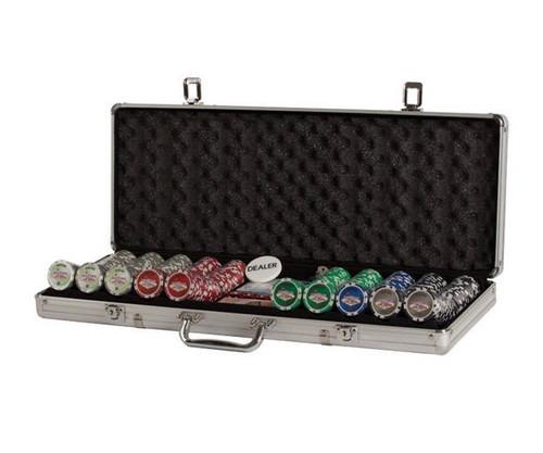 500 PC Las Vegas Poker Set with Dice & Cards Aluminum Case