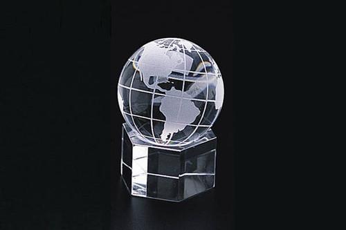"2"" Crystal World Globe Hex Base"