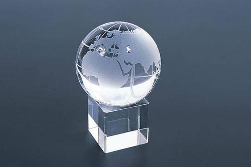 """2.5"""" Crystal World Globe Square Base"""