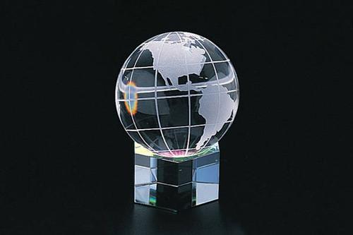 "2.5"" Crystal World Globe Hex Base"