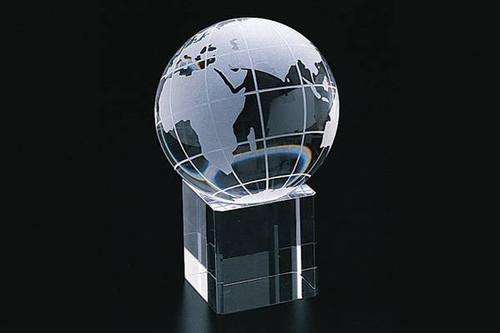 """3.14"""" Crystal World Globe Square Base"""