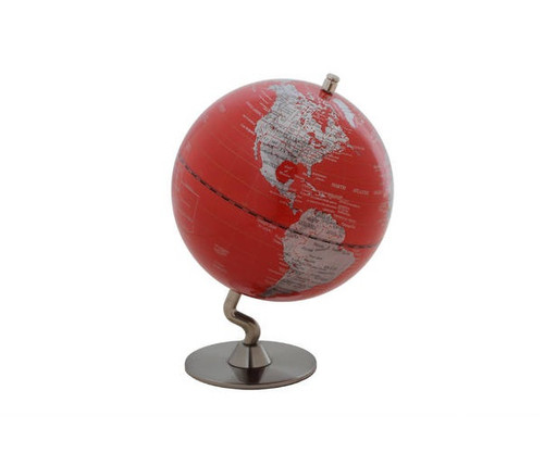 """5"""" Red Globe With Silver Base"""