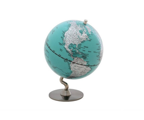 """5"""" Turquoise Globe With Silver Base"""