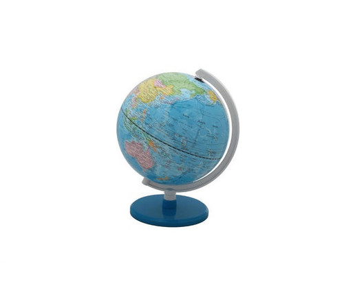 """8"""" Blue Political Map Globe With Base"""