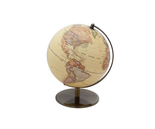 """10"""" Antique Ocean Globe Map With Bronze Base"""