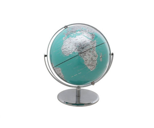 """10"""" Turquoise  Globe With Silver Base"""