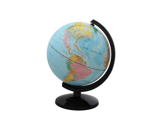 """12"""" Blue Political Map Globe With Base"""