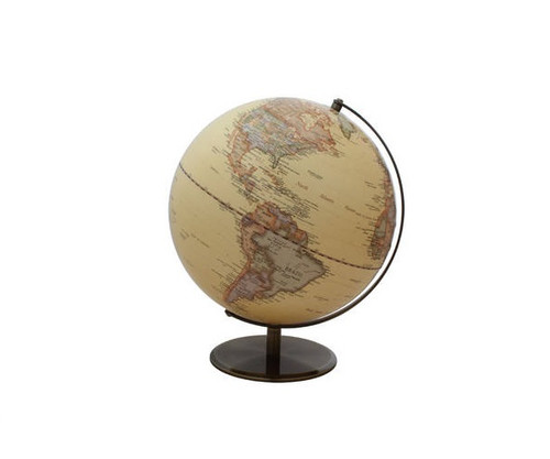 """12"""" Antique Ocean Globe Map With Bronze Base"""