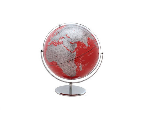 """12"""" Red Globe With Silver Base"""