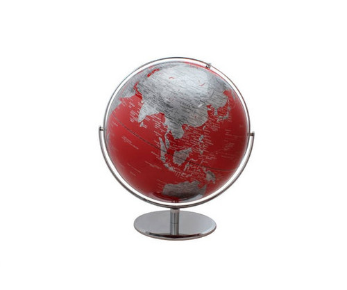 """17"""" Red Globe With Silver Base"""