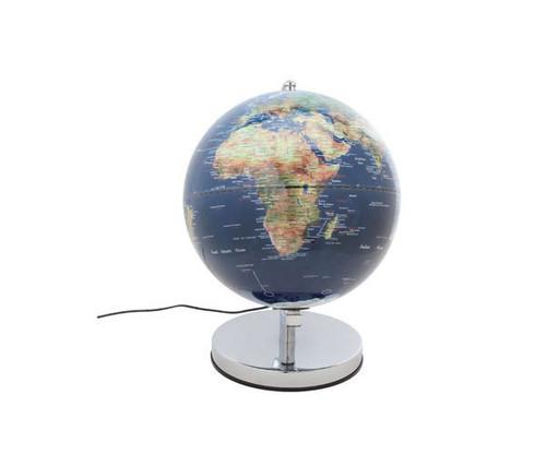 """10"""" Blue LED Globe With Chrome Base"""