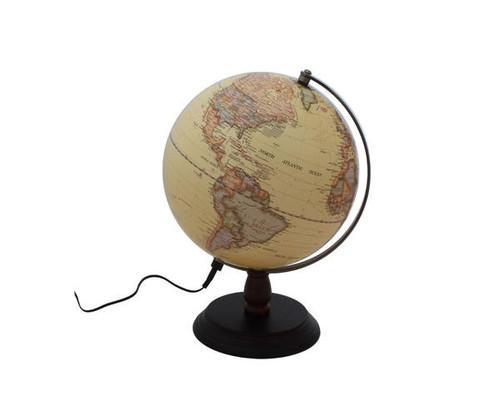 """12"""" Antique LED Globe With Wood Base"""
