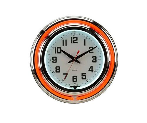 Orange and White Neon Clock