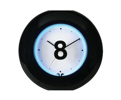 Large 8 Ball Blue Neon Clock