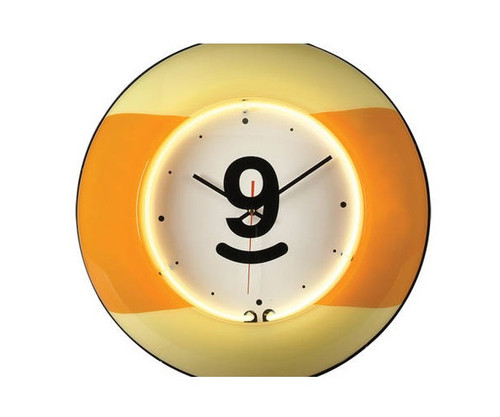 Large 9 Ball Yellow Neon Clock
