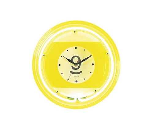 9 Ball Yellow Neon Clock