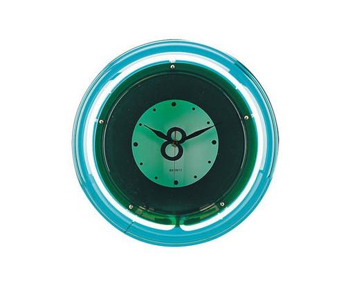 8 Ball Green Neon Clock