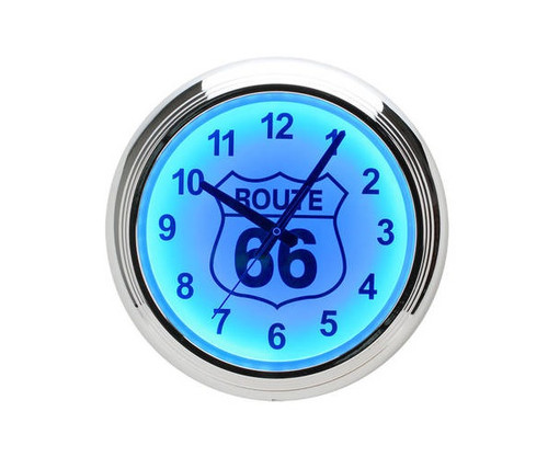 Route 66 Blue LED Wall Clock