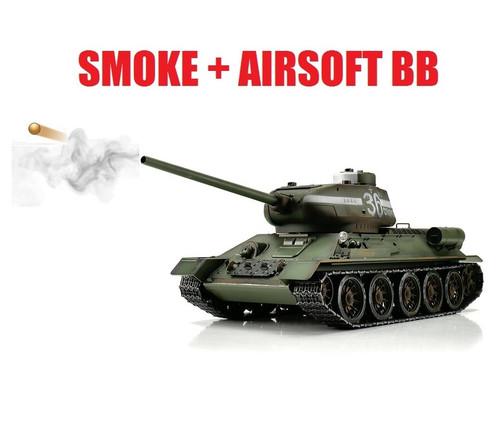 1/16 Torro Russia T34/85 RC Tank 2.4GHz Airsoft Metal Edition PRO Green Smoke Barrel