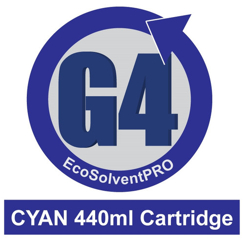 Cyan - EcoSolventPRO G4 Ink for Roland, 440ml Cartridge. Eco-Sol MAX Compatible.