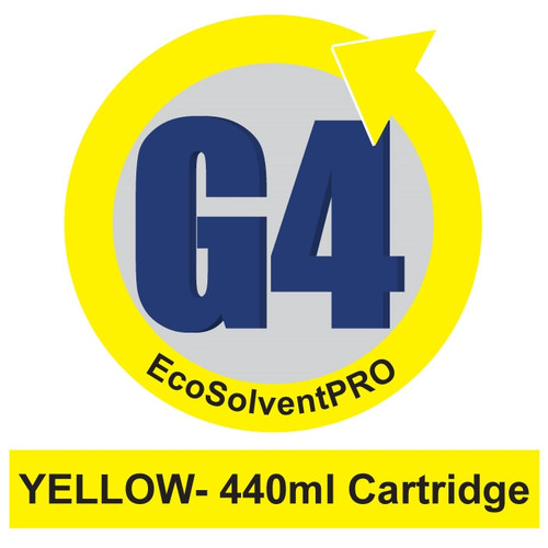 Yellow - EcoSolventPRO G4 Ink for Roland, 440ml Cartridge. Eco-Sol MAX Compatible.